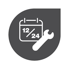 Grey ink drop with a white calendar and spanner icon in the middle