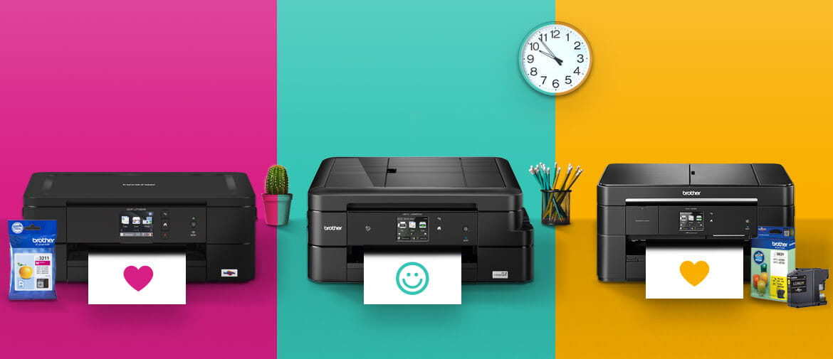 3 brother printers sat on a pink green and yellow background with printed hearts and a smiley face