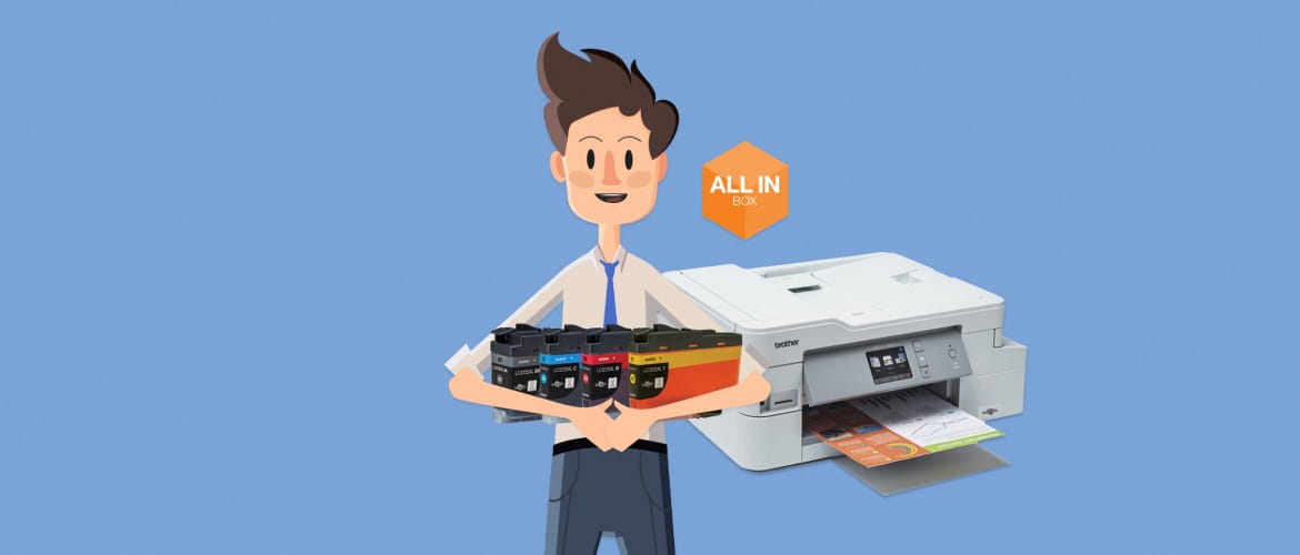 A cartoon man stands against a pale blue background to promote a print bundle package. He is holding four CMYK ink cartridges with a Brother printer in the background next to an orange All in Box icon.