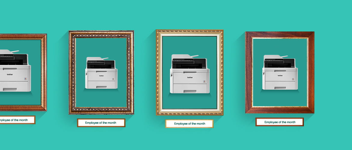 Framed pictures of a range of Brother printers awarded Employee of the Month