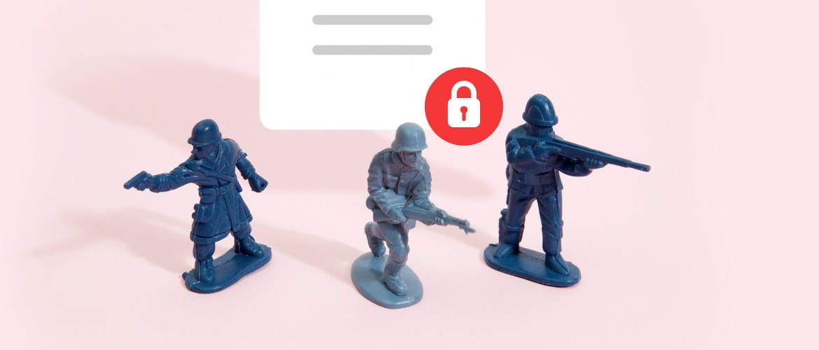 Three plastic toy soldiers standing against a pink background defend a secure PDF paper document from a business data breach