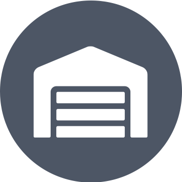 Grey circle with white warehouse icon
