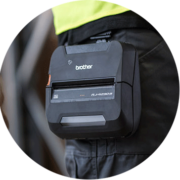 Brother RJ-4 rugged mobile printer worn on-body