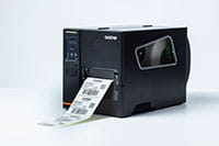 Brother TJ industrial label printer printing barcode labels