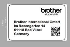 Completed label in P-touch Editor label design software showing address, company logo, frame and barcode