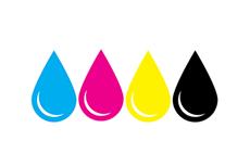 Inkt kleuren zwart cyaan magenta geel