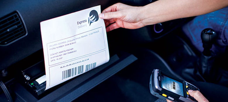 In vehicle printing of delivery note from Brother PJ thermal printer in glovebox