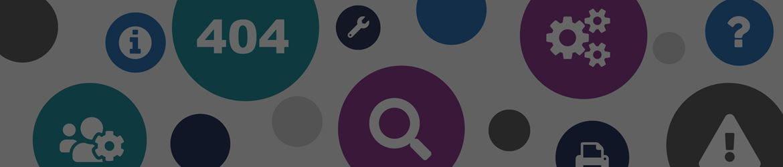 Pogreška 404 - stranica s ikonama zupčanika, pretraživanja, informacija i pisača