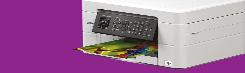 tlačiareň Brother tlačiaca obrázok A4, fialový podklad