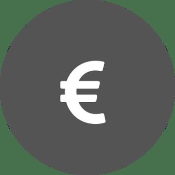 Bílý symbol eura v šedém kruhu