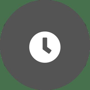 biela ikona hodín na kruhovom sivom pozadí