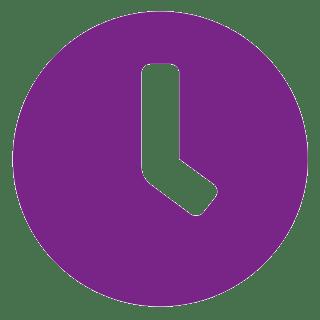 biała ikonka zegara na fioletowym, okrągłym tle