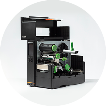 Imprimanta industrială de etichete Brother TJ cu capac deschis