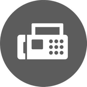 Ikona faxu v šedém kruhu