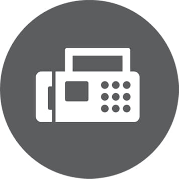 Bela ikona faksa na sivem krogu