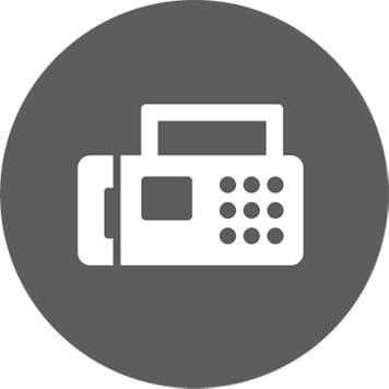 Bijela ikona faksa na okrugloj sivoj pozadini