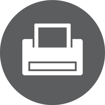 Bela ikona tiskalnika na sivem krogu