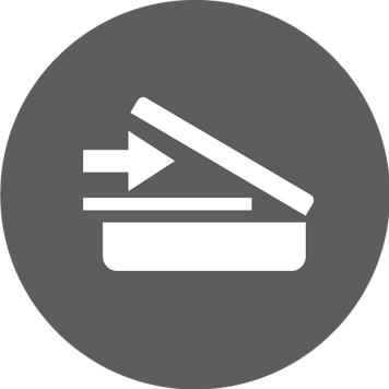 Bijela ikona skenera na okrugloj sivoj pozadini