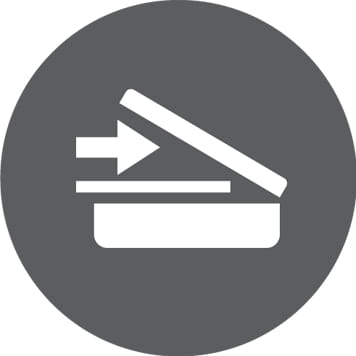 ikonka skanowania na szarym okrągłym tle