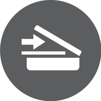 Ikona skenování v šedém kruhu
