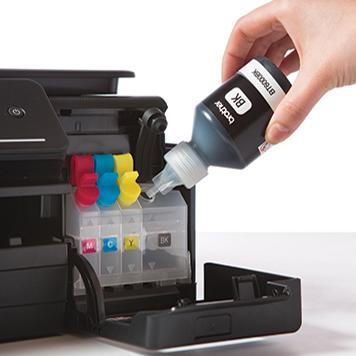 Napełniane tuszem kartridża w drukarce Brother DCP-T300
