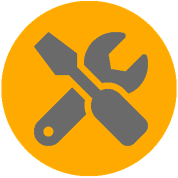 A hálózati infrastruktúra karbantartását ábrázoló ikon
