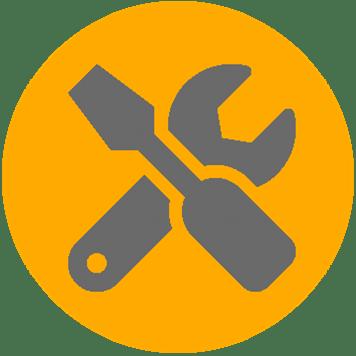 Žlutá ikona údržby síťové infrastruktury