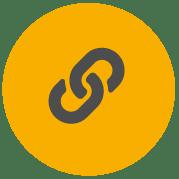 Ikon a Pro szalagokhoz, amely a láncszemek kapcsolódását mutatja az erős ragasztók, kemény anyagok jelzésére
