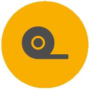 Ikona za Pro-Tape, ki prikazuje odvijanje traku z role