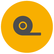 Ikona Pro-Tape pokazująca rozwijającą się taśmę z rolki