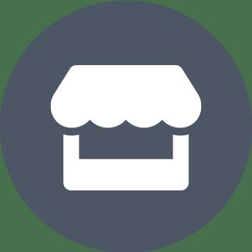 Šedý kruh s bílou ikonou obchodu