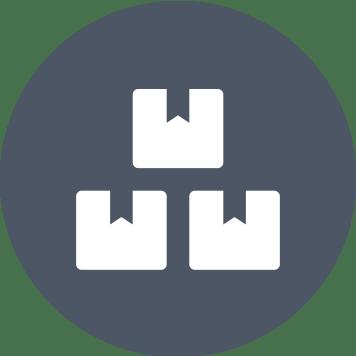 ikona troch bielych krabíc na sivomodrom podklade