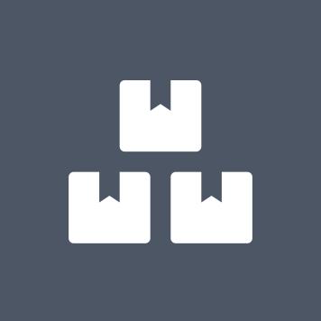 Sivi krug s bijelom ikonom 3 kutije