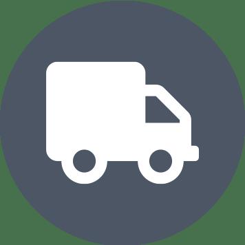 Pictogramă cu bulină gri și cu camion alb