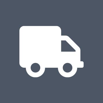 ikona bielej dodávky na sivomodrom podklade