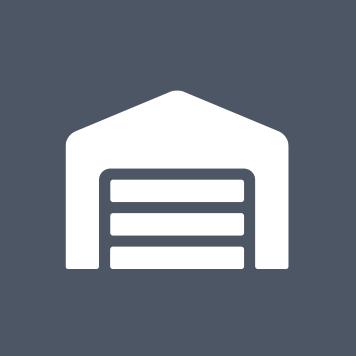 ikona bieleho skladu na sivomodrom podklade