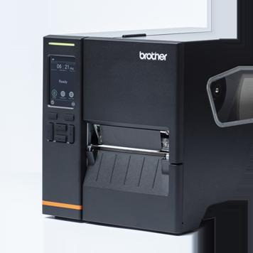 Črn tiskalnik nalepk z natisnjenimi nalepkami, črni zaslon menija, bele ikone