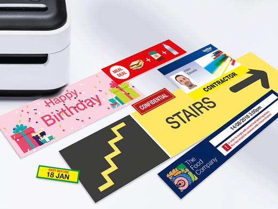 Различни размери пълноцветни етикети, отпечатани с Brother VC-500W