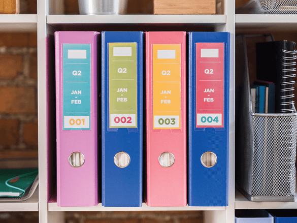 Etichete color Brother in dosare intr-un dulap dintr-un birou