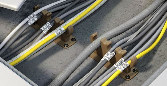 CCTV cables with Brother Flexible-ID label wrapped around to identify them