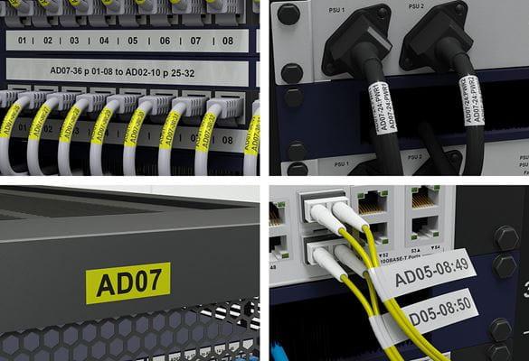 Štítky z Pro pásky Brother identifikují síťový zásuvný panel, stojan a kabeláž