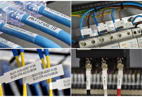 Mozaik štirih slik, ki prikazuje identifikacijo kablov z različnimi nalepkami in termoskrčljivimi cevkami Brother