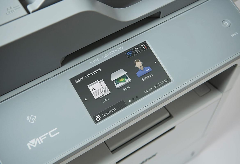 Dotykový displej na multifunkční tiskárně Brother se třemi ikonami