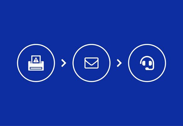 Ikona drukarki ikona wiadomości e-mail ikona klucza