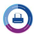 niebiesko-fioletowa ikonka symbolizująca MPS Usługa Zarządzania Drukiem