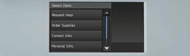 Dotykový displej multifunkční tiskárny Brother se třemi ikonami