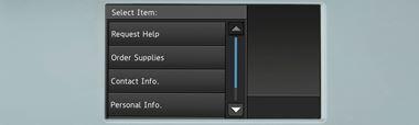 Dotykový displej multifunkční tiskárny Brother se seznamem služeb