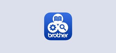 Logo aplikacije Brother support centre na sivoj pozadini
