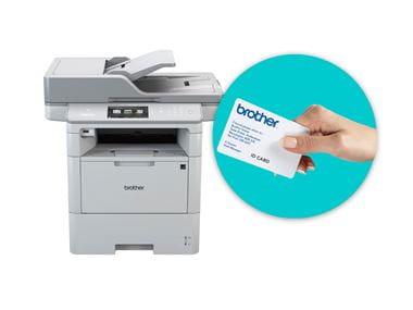 Multifunkční tiskárna s ID kartou v modrém kruhu