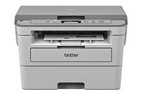 Brother DCP-B7250DW imprimanta laser mono 3 in 1 văzută din față cu foaie imprimată